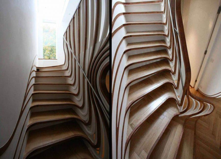 Desain tangga kayu trippy unik