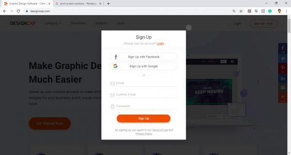 mendaftarkan akun designcap